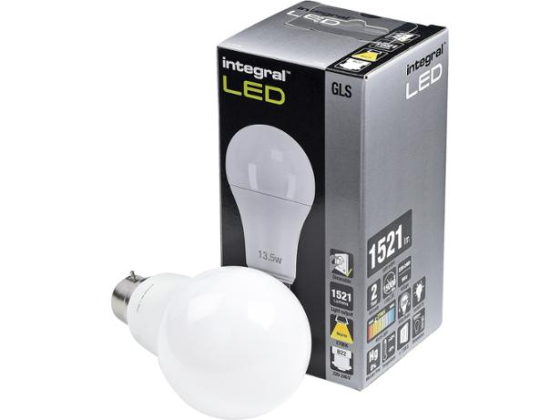 Integral 13.5W Classic Globe LED GLS light bulb front view
