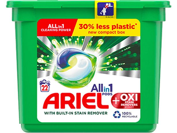 Ariel All in 1 Pods + Oxi Stain Removers front view