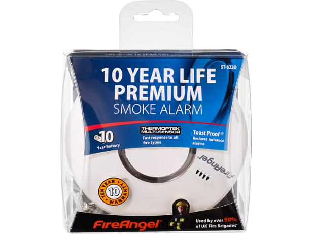 FireAngel ST-622 10 Year Thermoptek Smoke Alarm front view